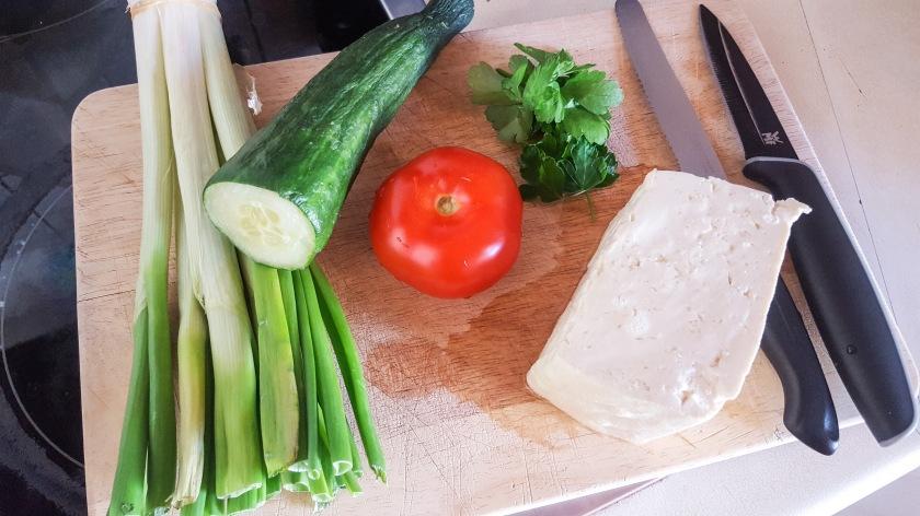 Zutaten veganer Couscous Salat